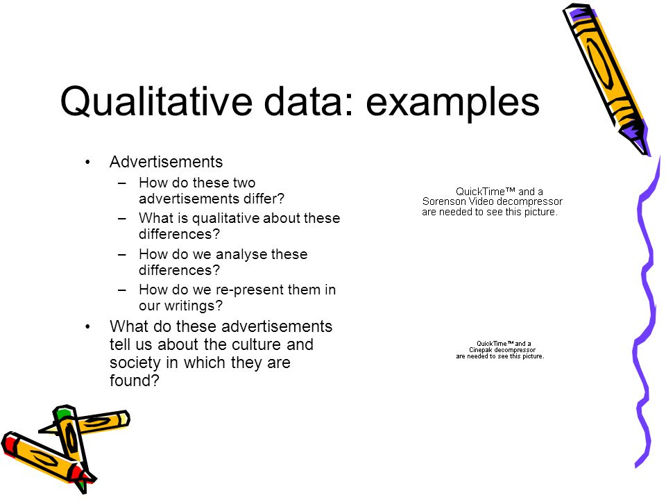 Qualitative data: examples Advertisements –How do these two advertisements differ.