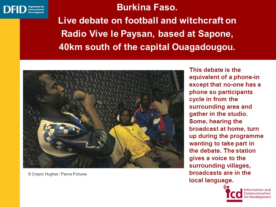 Burkina Faso. Live debate on football and witchcraft on Radio Vive le Paysan, based at Sapone, 40km south of the capital Ouagadougou. This debate is t