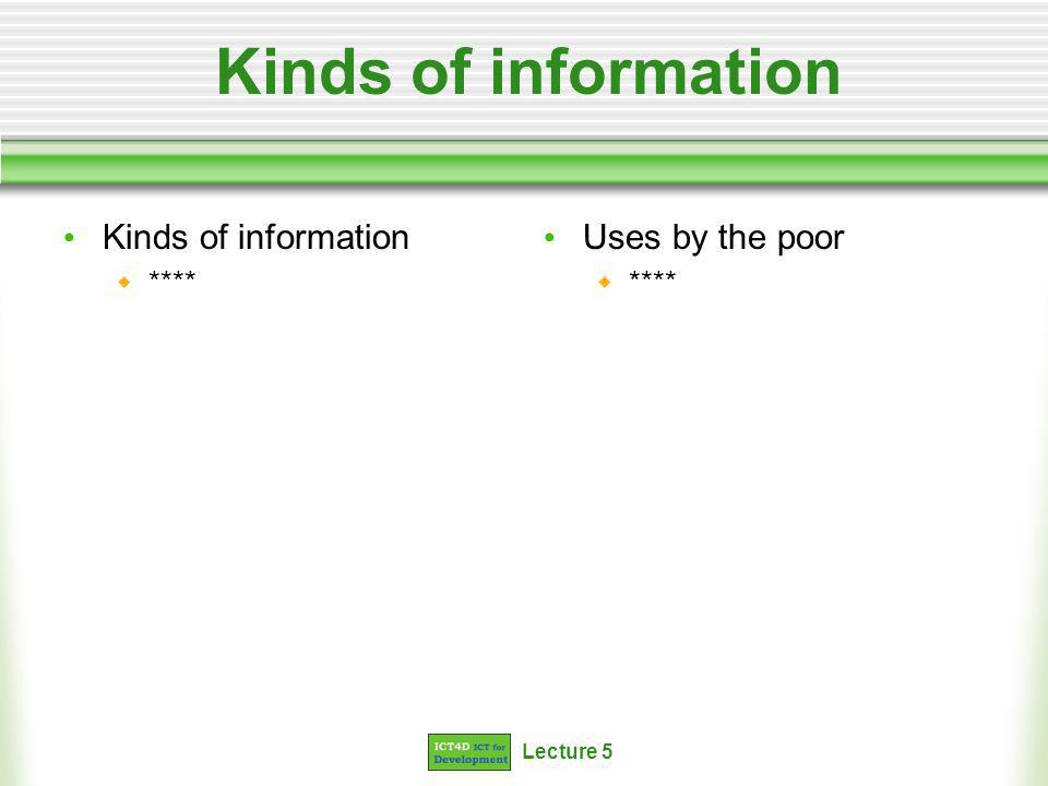 Lecture 5 Kinds of information **** Uses by the poor ****