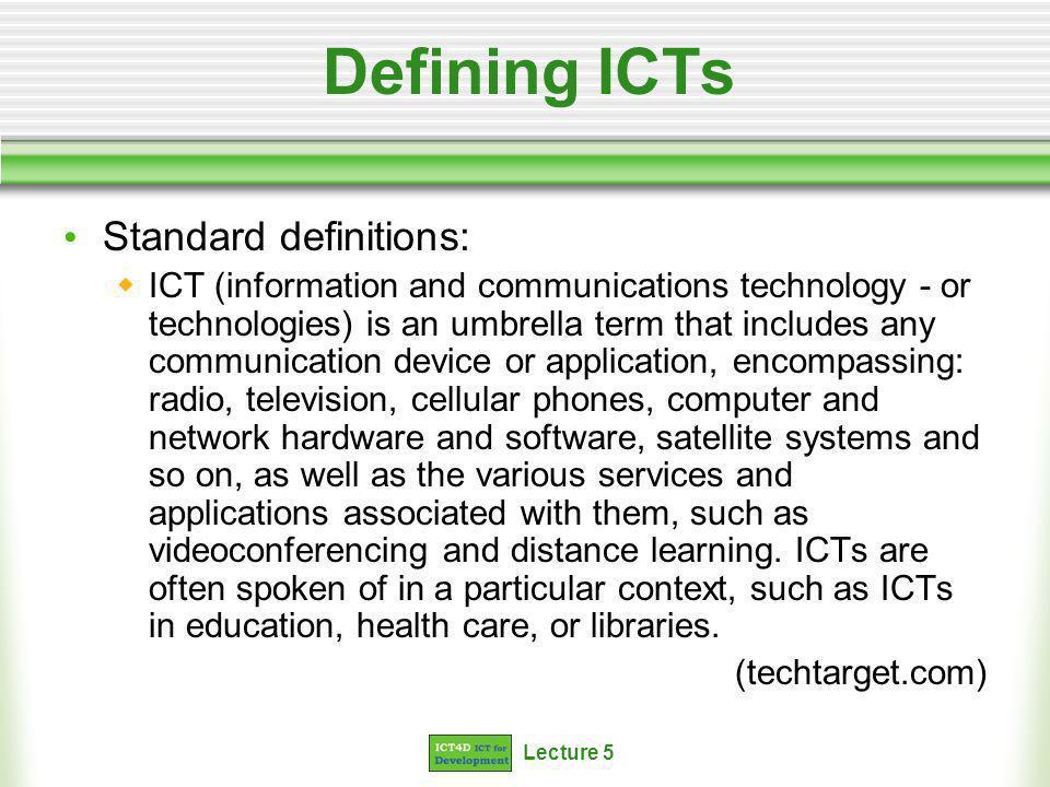 Lecture 5 Relevant communication technologies Examples of communication technologies ****