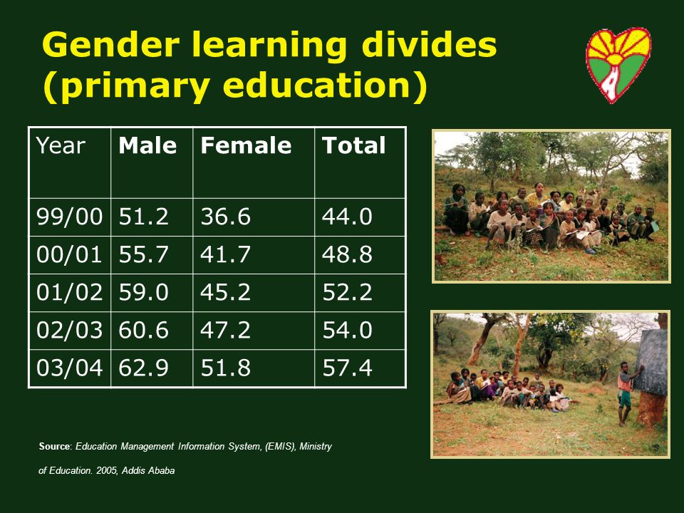 Gender learning divides (primary education) YearMaleFemaleTotal 99/ / / / / Source: Education Management Information System, (EMIS), Ministry of Education.