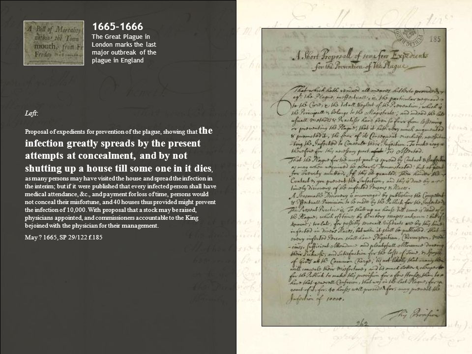 Left: Proposal of expedients for prevention of the plague, showing that the infection greatly spreads by the present attempts at concealment, and by n