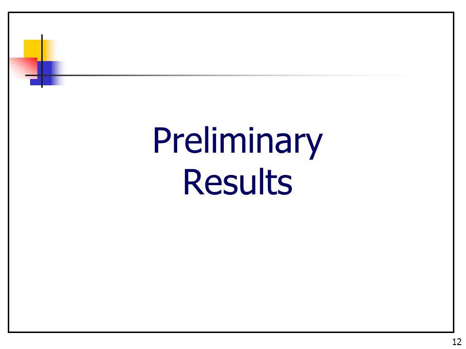 12 Preliminary Results