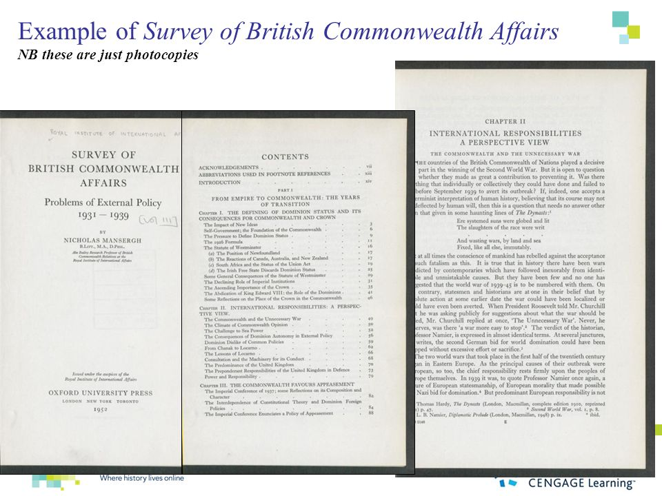 Example of Survey of British Commonwealth Affairs NB these are just photocopies
