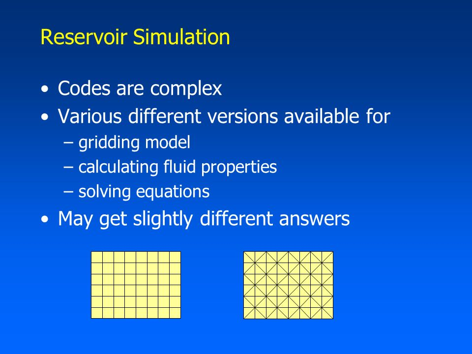 Benchmark Problems Compare solutions using different codes If results are the same –gives confidence in simulation results If they are different –indicates where more work is needed