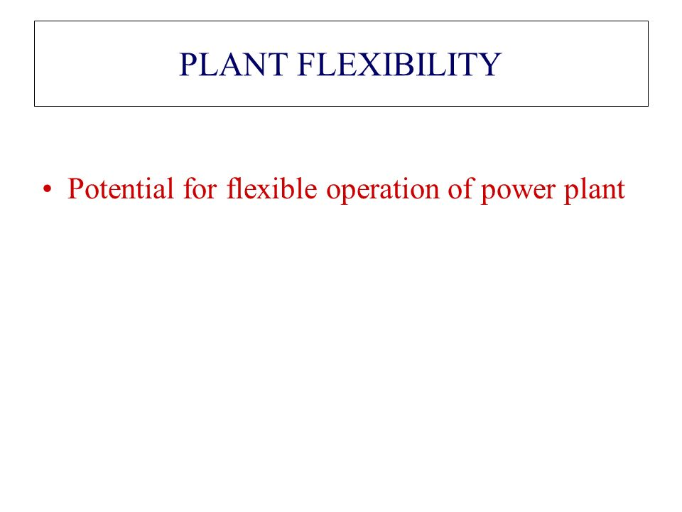 PLANT FLEXIBILITY Potential for flexible operation of power plant