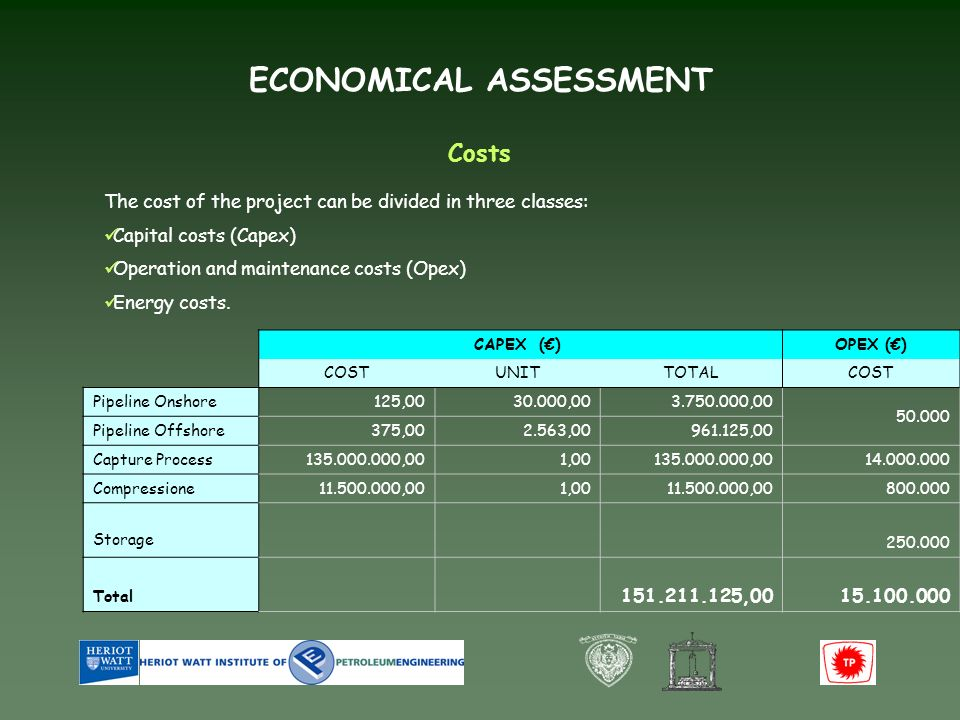 ECONOMICAL ASSESSMENT Costs The cost of the project can be divided in three classes: Capital costs (Capex) Operation and maintenance costs (Opex) Energy costs.