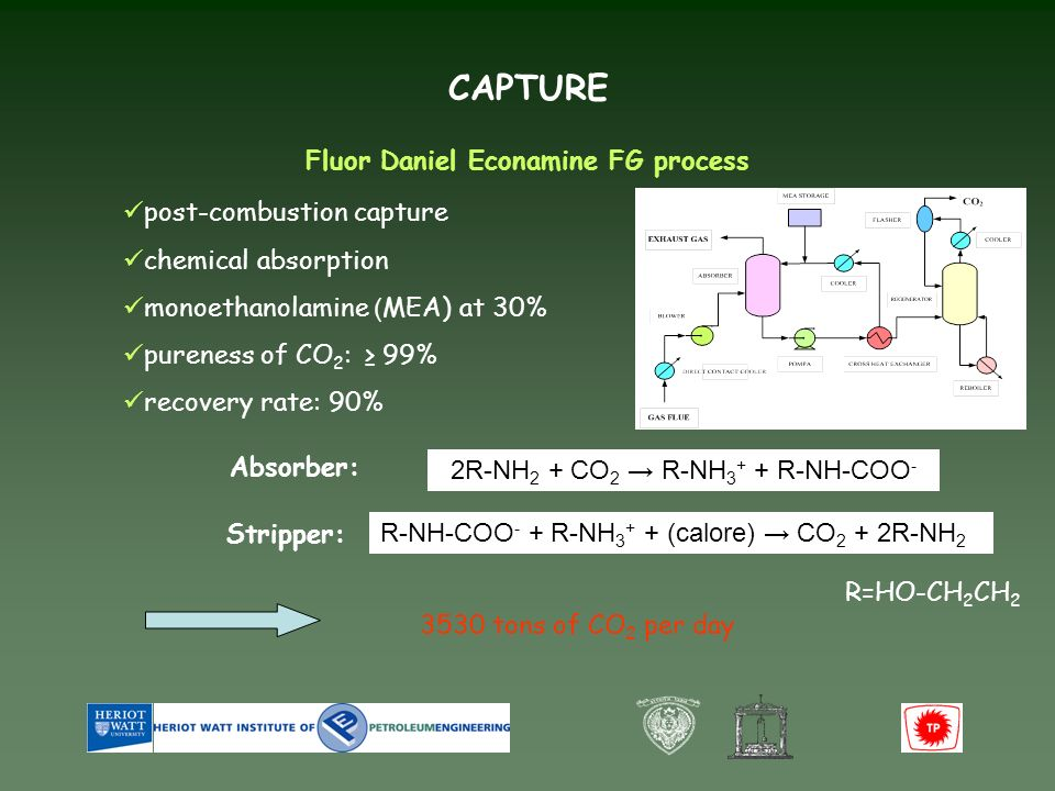 3530 tons of CO 2 per day post-combustion capture chemical absorption monoethanolamine ( MEA) at 30% pureness of CO 2 : 99% recovery rate: 90% CAPTURE Fluor Daniel Econamine FG process 2R-NH 2 + CO 2 R-NH 3 + + R-NH-COO - R=HO-CH 2 CH 2 Absorber: Stripper: R-NH-COO - + R-NH 3 + + (calore) CO 2 + 2R-NH 2
