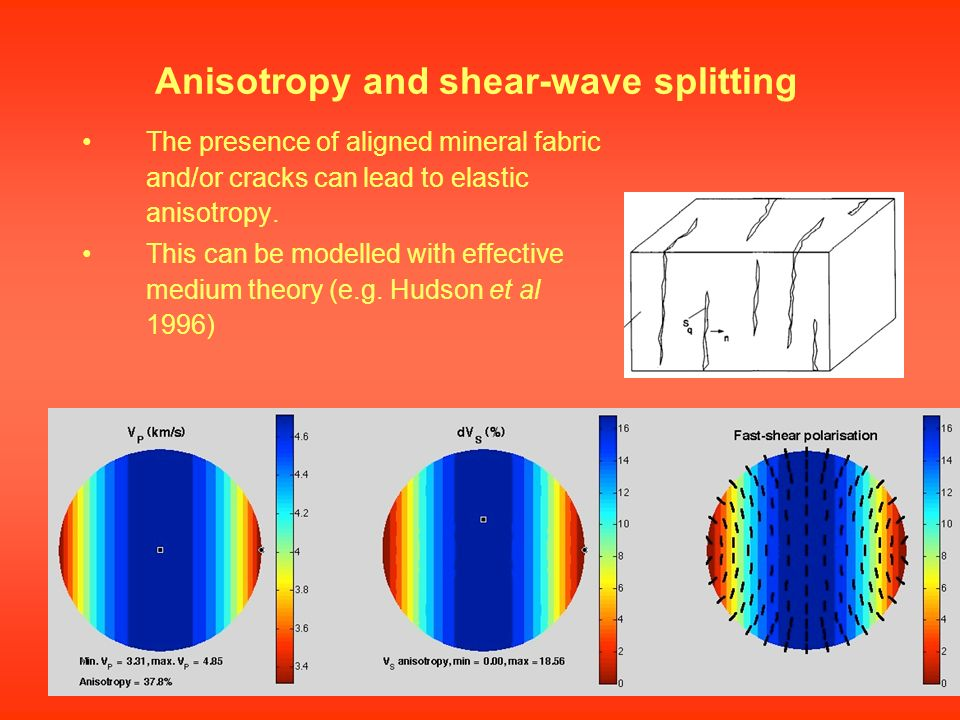 The presence of aligned mineral fabric and/or cracks can lead to elastic anisotropy. This can be modelled with effective medium theory (e.g. Hudson et