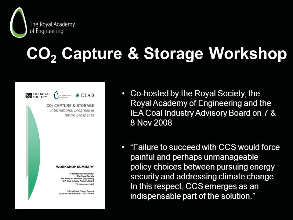 CO 2 Capture & Storage Workshop Co-hosted by the Royal Society, the Royal Academy of Engineering and the IEA Coal Industry Advisory Board on 7 & 8 Nov