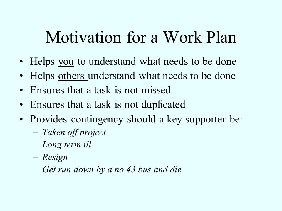Motivation for a Work Plan Helps you to understand what needs to be done Helps others understand what needs to be done Ensures that a task is not miss