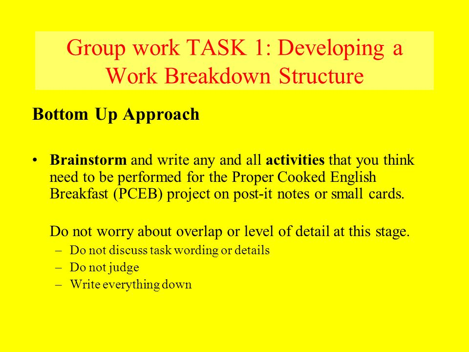 Group work TASK 1: Developing a Work Breakdown Structure Bottom Up Approach Brainstorm and write any and all activities that you think need to be perf