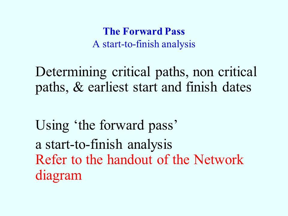 The Forward Pass A start-to-finish analysis Determining critical paths, non critical paths, & earliest start and finish dates Using the forward pass a