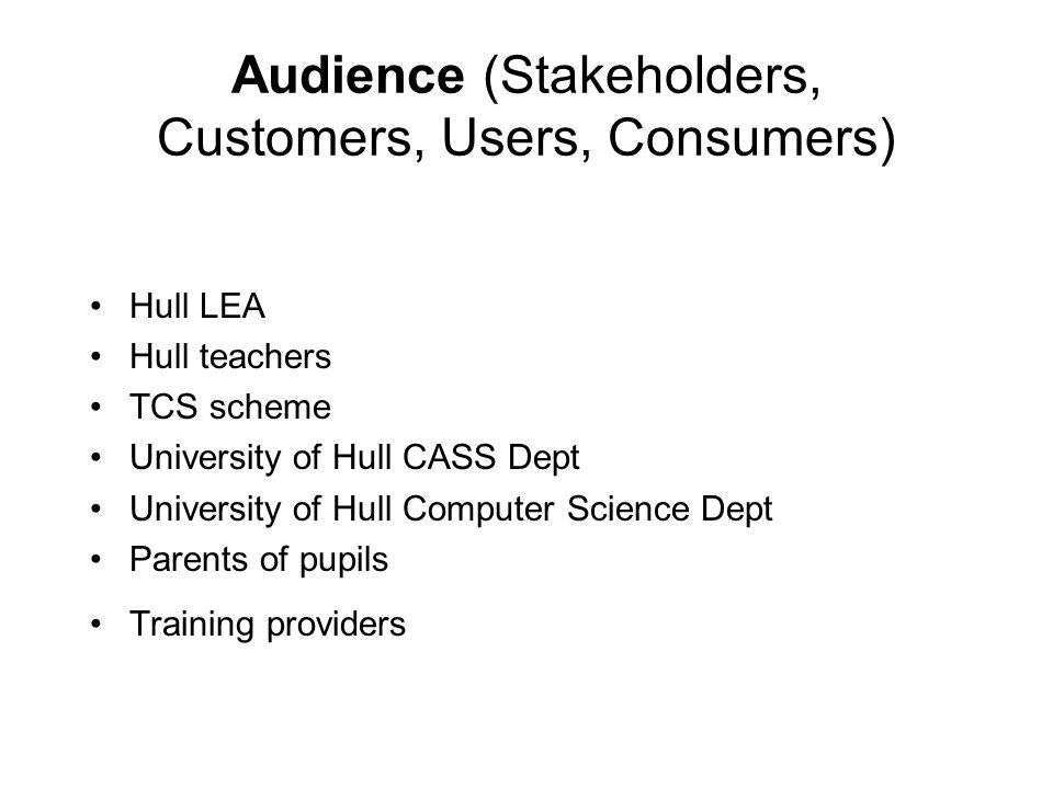 Audience (Stakeholders, Customers, Users, Consumers) Hull LEA Hull teachers TCS scheme University of Hull CASS Dept University of Hull Computer Scienc
