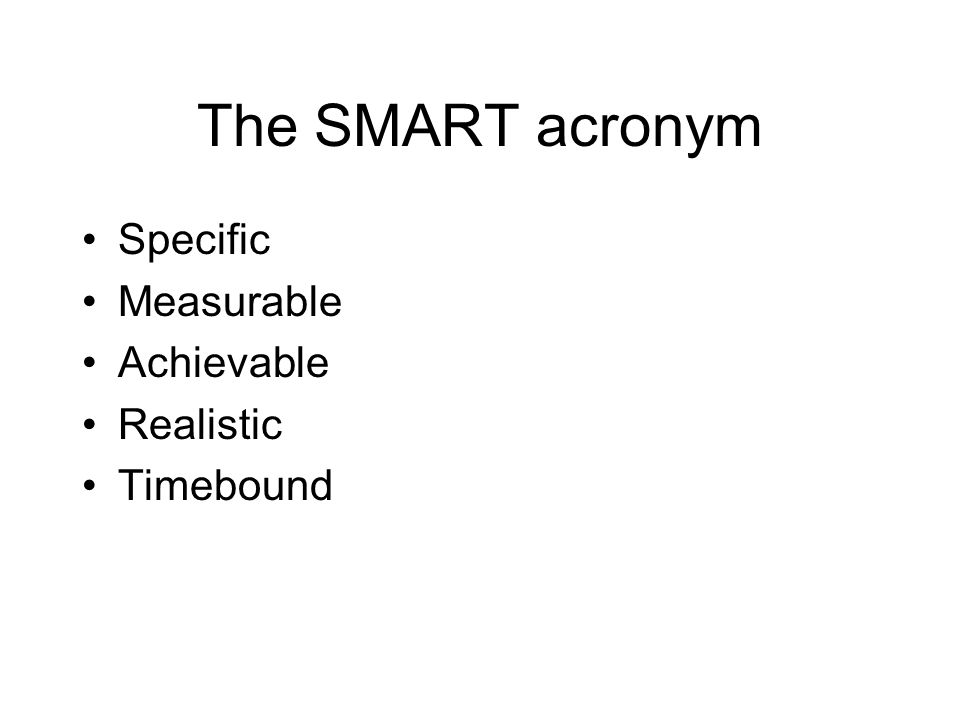 The SMART acronym Specific Measurable Achievable Realistic Timebound