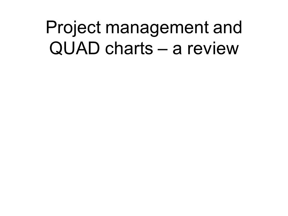 Project management and QUAD charts – a review