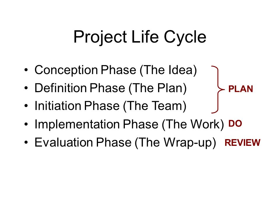 Project Life Cycle Evaluation Phase (The Wrap-up) DO PLAN REVIEW Conception Phase (The Idea) Definition Phase (The Plan) Initiation Phase (The Team) I