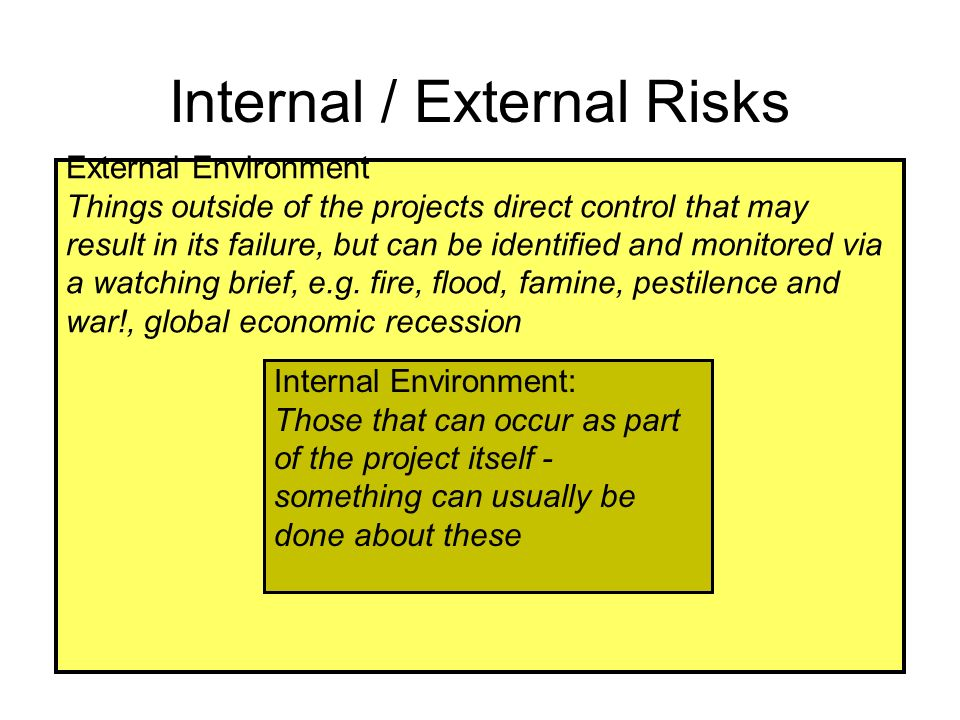 External Environment Things outside of the projects direct control that may result in its failure, but can be identified and monitored via a watching