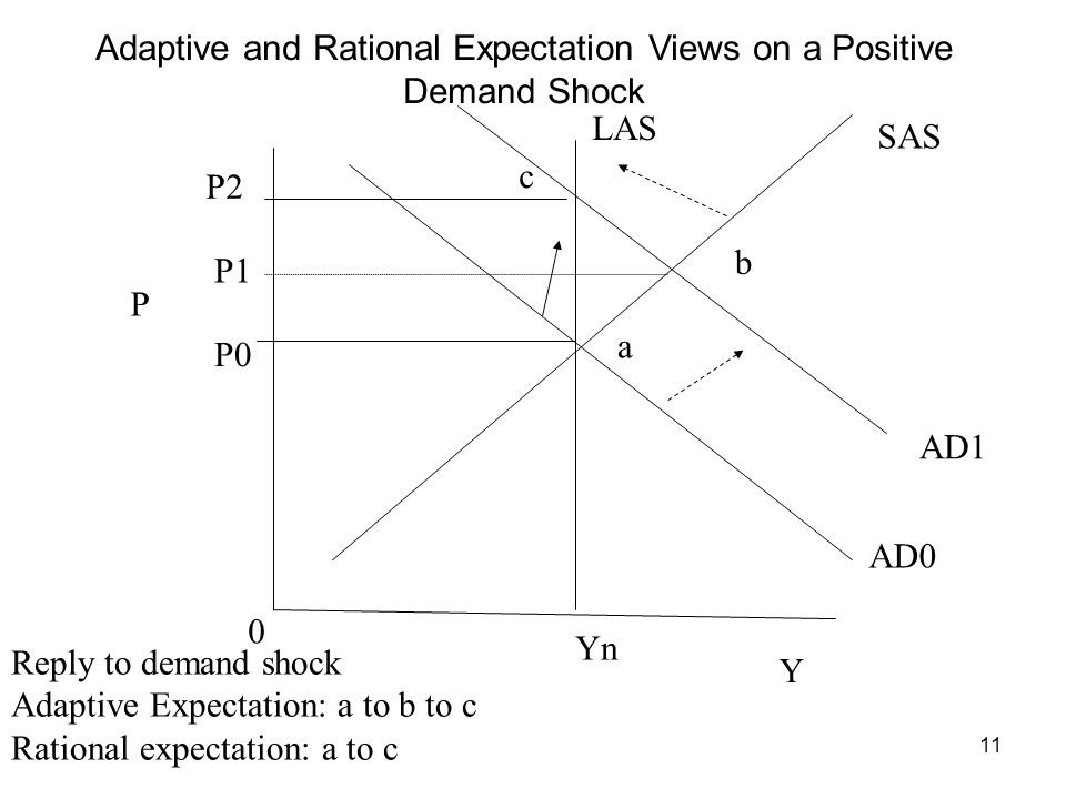 11 P Y Yn AD0 AD1 LAS SAS a b c 0 Reply to demand shock Adaptive Expectation: a to b to c Rational expectation: a to c Adaptive and Rational Expectation Views on a Positive Demand Shock P0 P2 P1