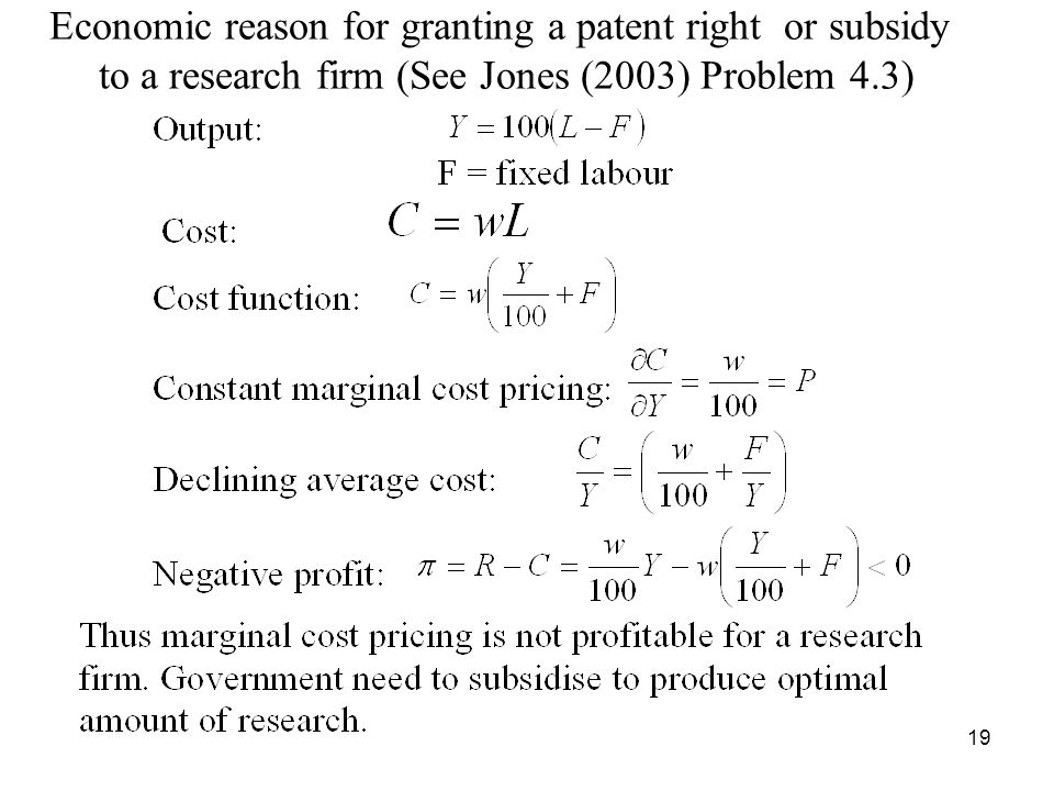19 Economic reason for granting a patent right or subsidy to a research firm (See Jones (2003) Problem 4.3)