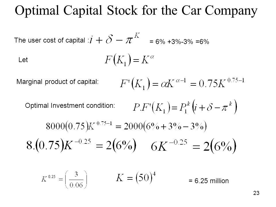 23 Optimal Capital Stock for the Car Company = 6% +3%-3% =6% The user cost of capital : Let Marginal product of capital: Optimal Investment condition: