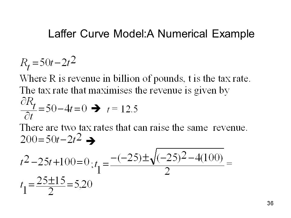 36 Laffer Curve Model:A Numerical Example