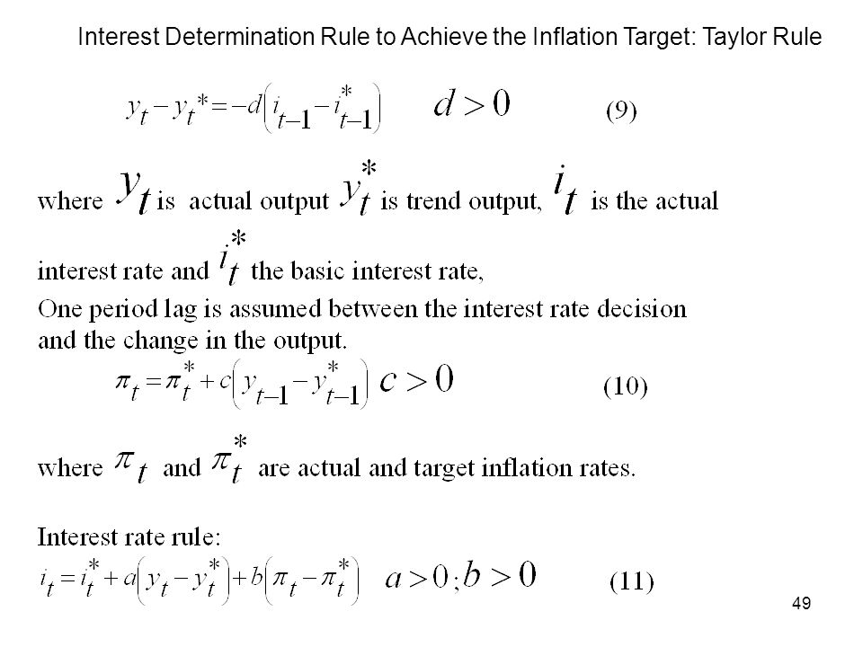49 Interest Determination Rule to Achieve the Inflation Target: Taylor Rule