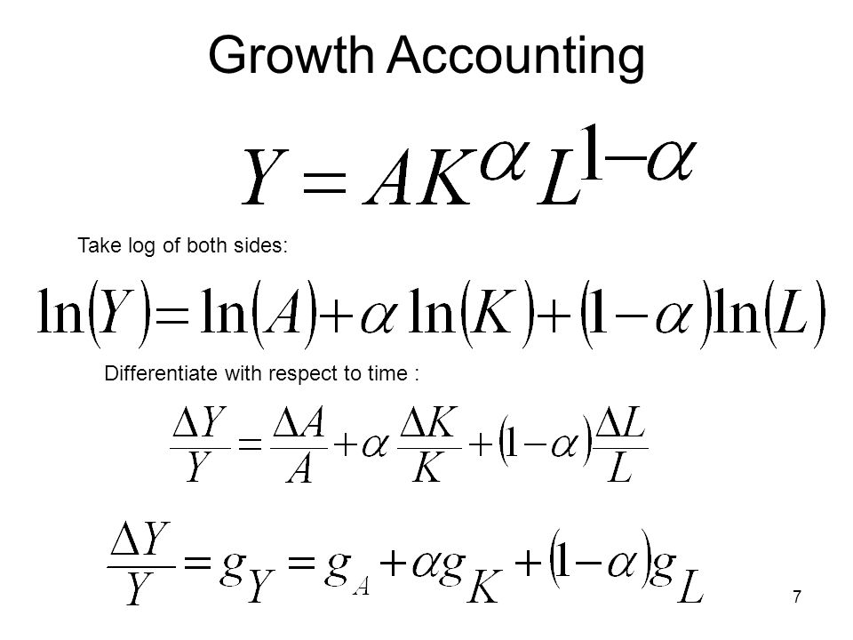 7 Growth Accounting Take log of both sides: Differentiate with respect to time :
