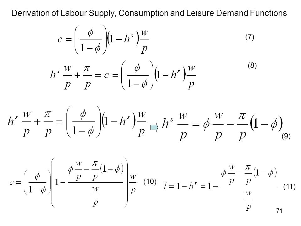 71 Derivation of Labour Supply, Consumption and Leisure Demand Functions (7) (8) (9) (10) (11)