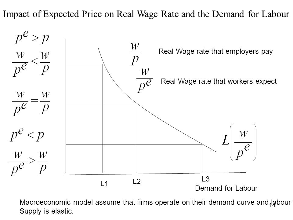 14 Demand for Labour Real Wage rate that employers pay Real Wage rate that workers expect L1 L2 L3 Impact of Expected Price on Real Wage Rate and the