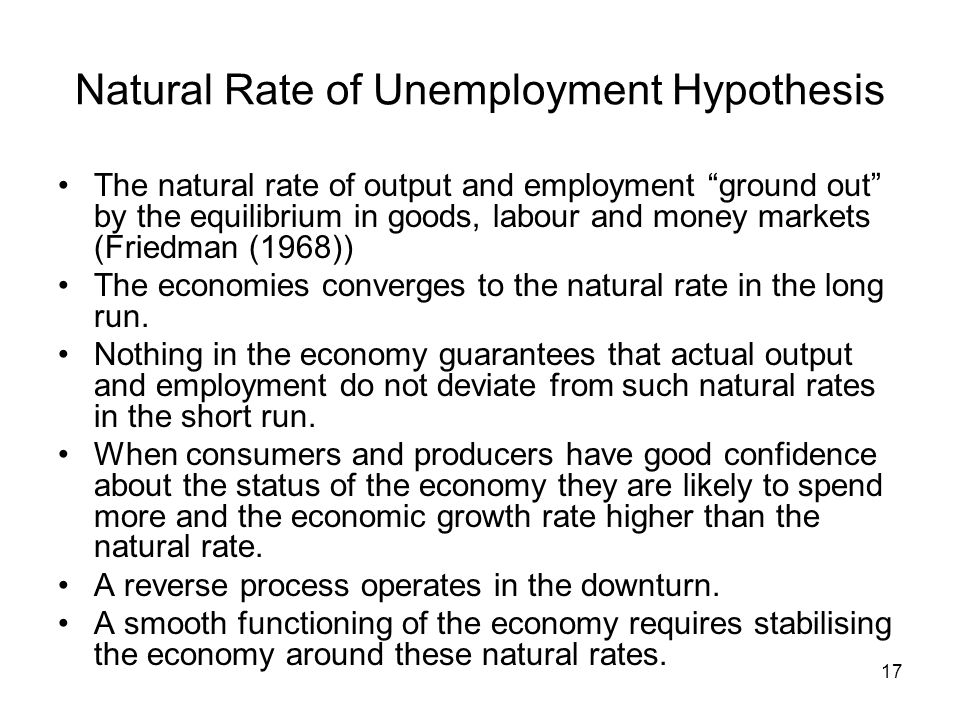 17 Natural Rate of Unemployment Hypothesis The natural rate of output and employment ground out by the equilibrium in goods, labour and money markets