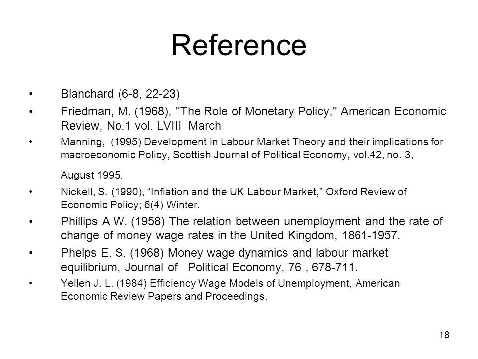 18 Reference Blanchard (6-8, 22-23) Friedman, M. (1968),