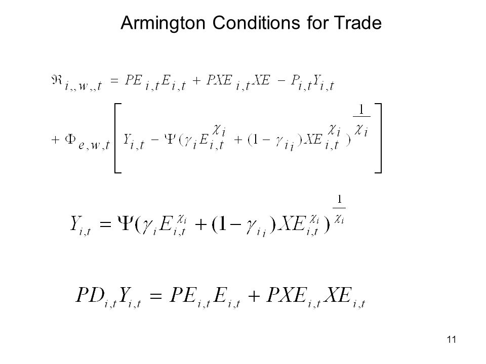 11 Armington Conditions for Trade