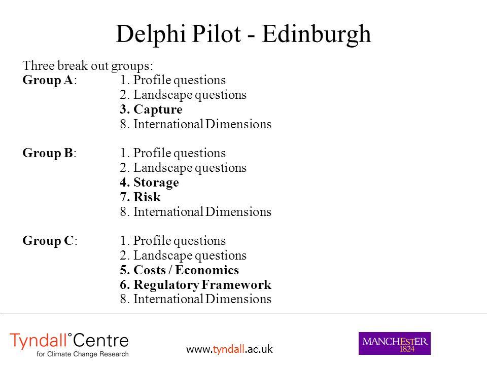 www.tyndall.ac.uk Delphi Pilot - Edinburgh Three break out groups: Group A: 1.