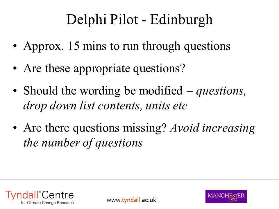 www.tyndall.ac.uk Delphi Pilot - Edinburgh Approx.
