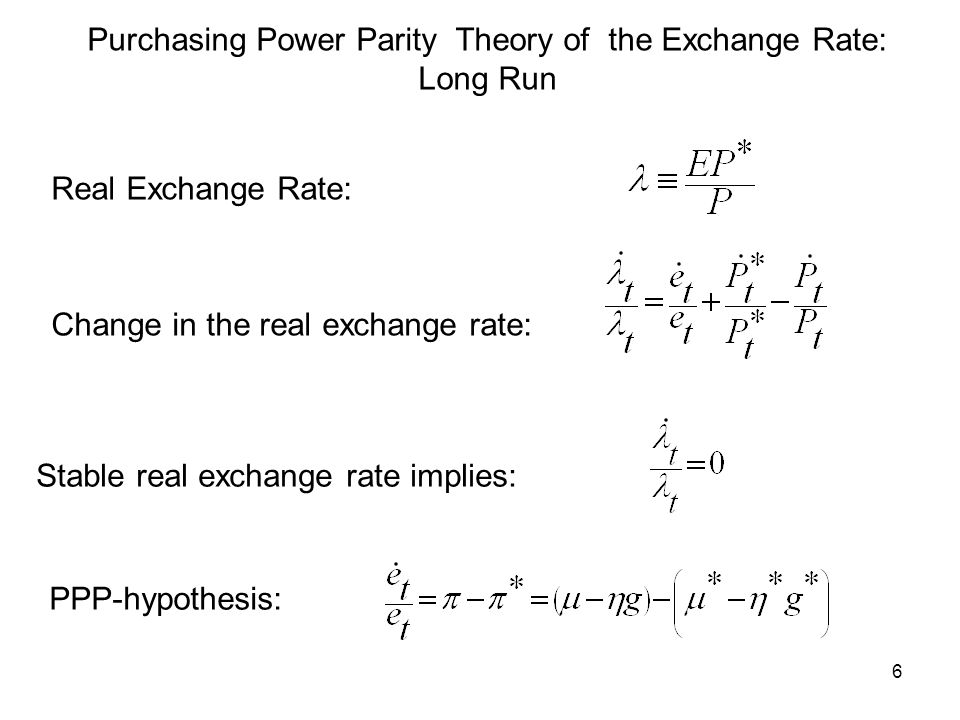 6 Purchasing Power Parity Theory of the Exchange Rate: Long Run Real Exchange Rate: Change in the real exchange rate: Stable real exchange rate implie