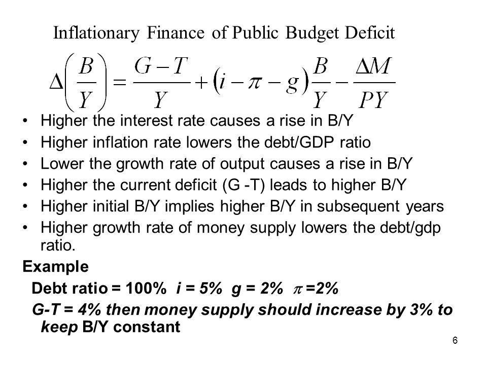 6 Inflationary Finance of Public Budget Deficit Higher the interest rate causes a rise in B/Y Higher inflation rate lowers the debt/GDP ratio Lower th