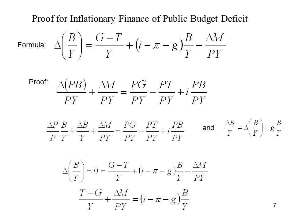 7 Proof for Inflationary Finance of Public Budget Deficit Proof: and Formula: