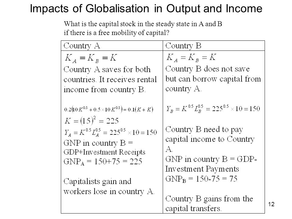 12 Impacts of Globalisation in Output and Income What is the capital stock in the steady state in A and B if there is a free mobility of capital