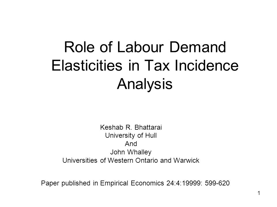 2 Heterogenous Labour and Impact of Taxes