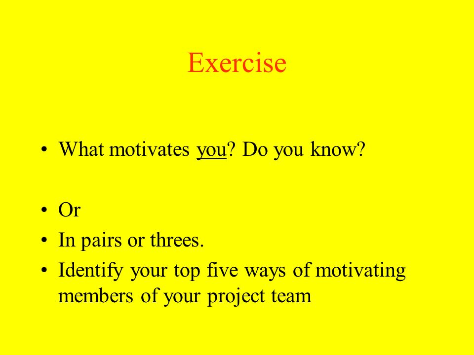 Exercise What motivates you? Do you know? Or In pairs or threes. Identify your top five ways of motivating members of your project team