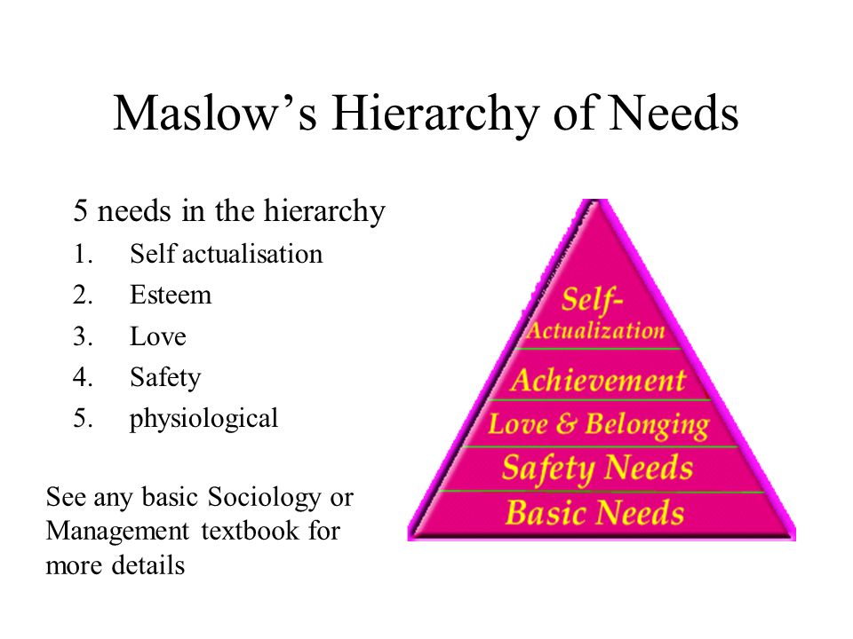 Maslows Hierarchy of Needs 5 needs in the hierarchy 1.Self actualisation 2.Esteem 3.Love 4.Safety 5.physiological See any basic Sociology or Managemen