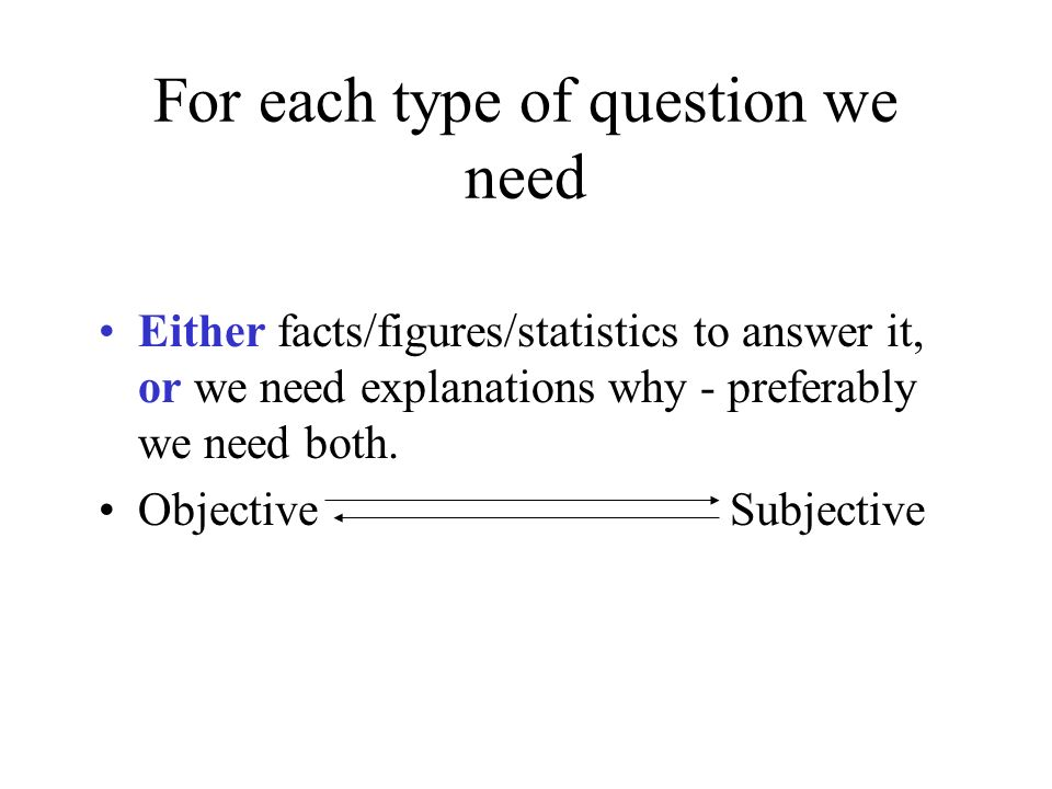 For each type of question we need Either facts/figures/statistics to answer it, or we need explanations why - preferably we need both. ObjectiveSubjec