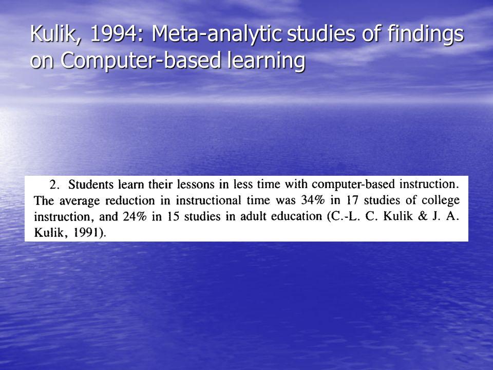 Kulik, 1994: Meta-analytic studies of findings on Computer-based learning