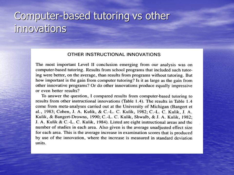 Computer-based tutoring vs other innovations