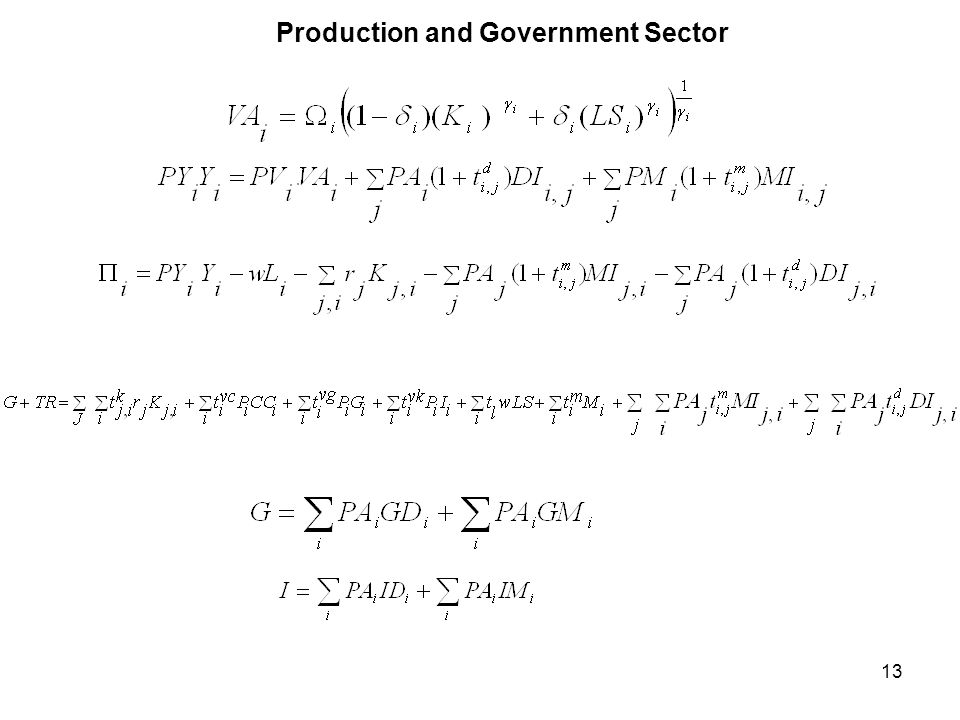 13 Production and Government Sector