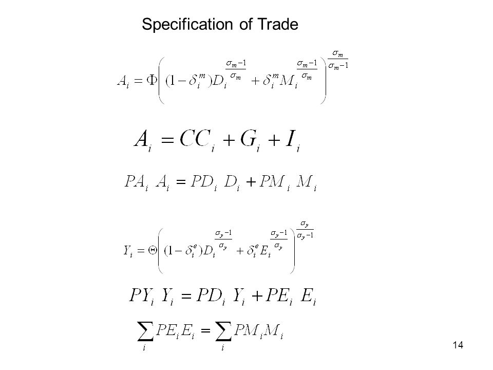 14 Specification of Trade
