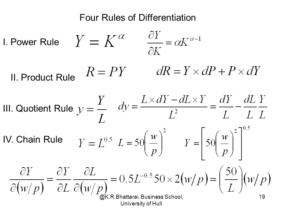 @K.R.Bhattarai, Business School, University of Hull 19 Four Rules of Differentiation I. Power Rule II. Product Rule III. Quotient Rule IV. Chain Rule