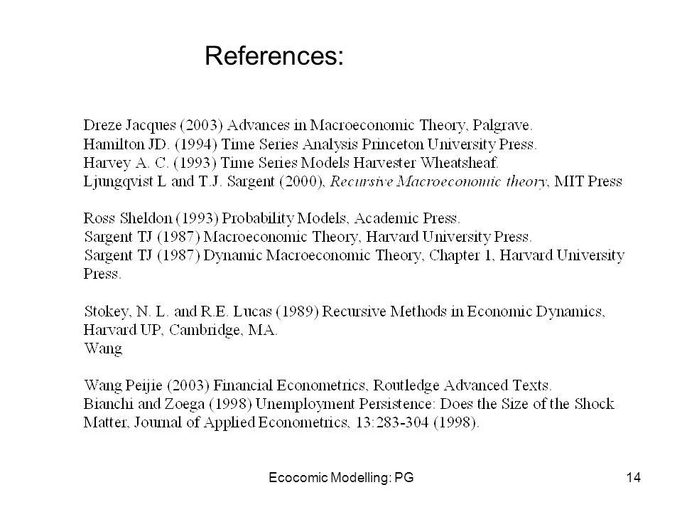 Ecocomic Modelling: PG14 References: