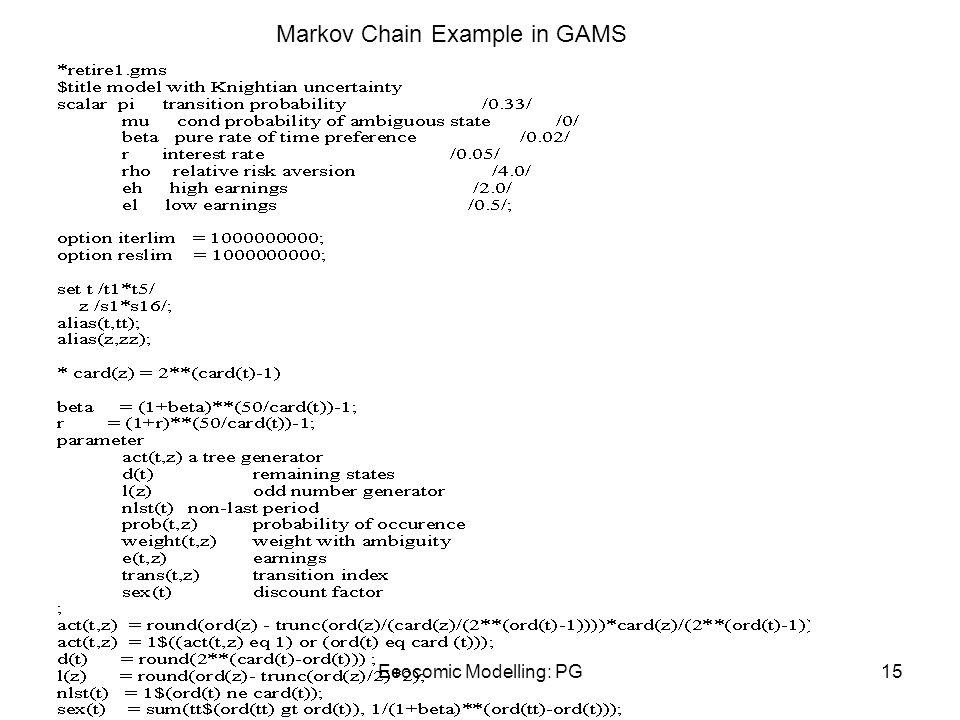 Ecocomic Modelling: PG15 Markov Chain Example in GAMS
